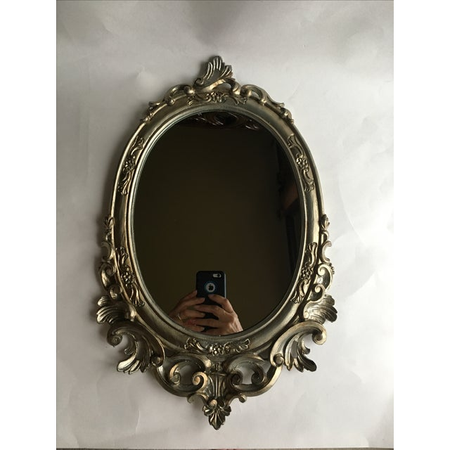 Antique Italian Baroque Gilted Scroll and Flower Oval Mirror - Image 2 of 8