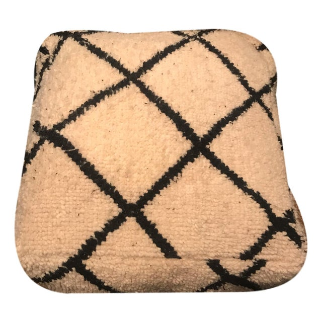 Authentic Beni Ourain Vintage Moroccan Pouf Floor Cushions - a Pair - Image 4 of 10