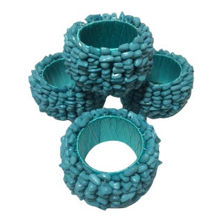 Handcrafted Turquoise Napkin Rings - Set of 4