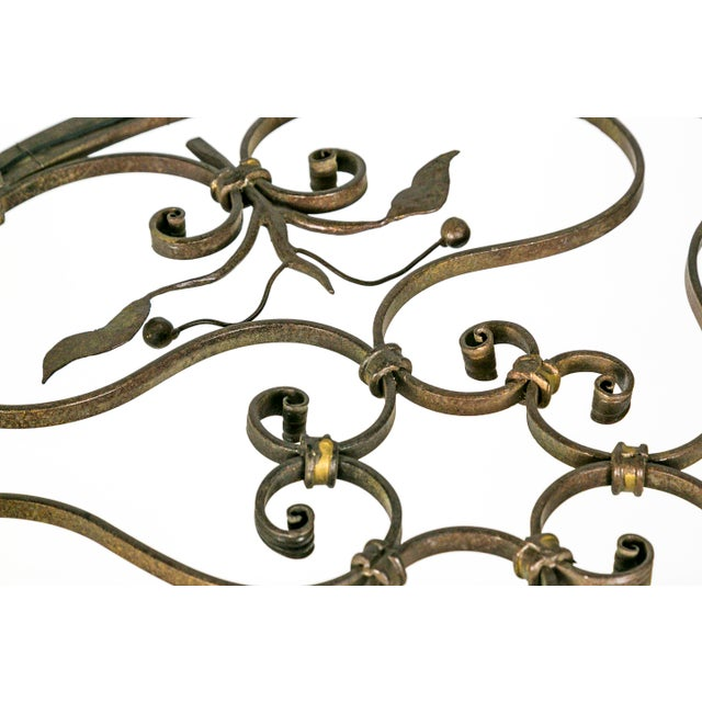 Hand Wrought Flat Leaf and Scroll Chandelier - Image 3 of 8