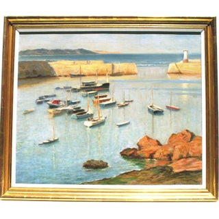 Circa Late 1930's Mevagissey Harbor Oil Painting