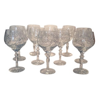 European Crystal Wine Goblets - Set of 10