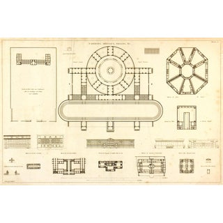 Antique Architectural Buildings Print, 1800