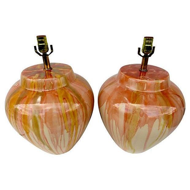 Large Drip Glaze Ceramic Lamps - Pair - Image 2 of 4