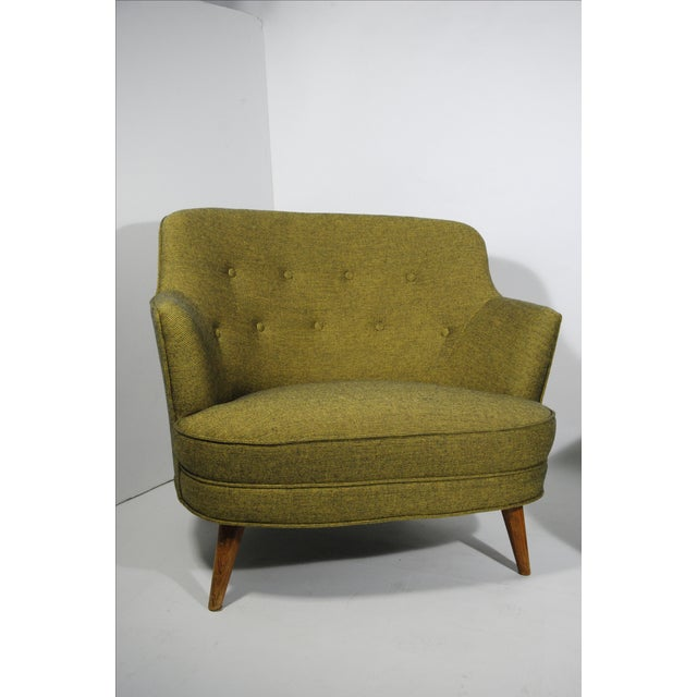 Mid-Century Extra Wide Occasional Green Chairs - Image 3 of 5