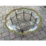 Image of Scalloped Solid Brass Tray Faux Metal Bamboo Base Coffee Table by La Barge