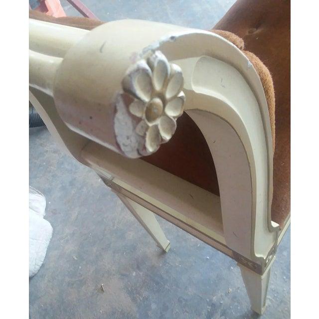 Vintage Velvet Louis XVI High Armed Window Bench Seat - Image 9 of 9