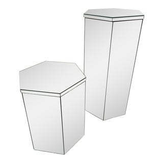 Mirrored Pedestals with Storage and Lids - A Pair