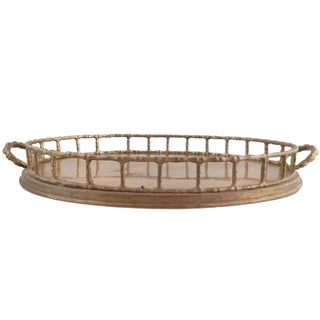 Decorative Brass Basket in Faux Bamboo