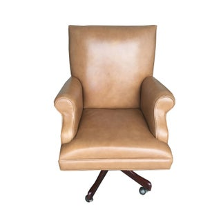 Vintage Mid Century Modern Tan Leather Chesterfield Style Executive Office Chair