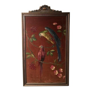 Antique Parakeet Painting on Mohair in Carved Gilt Frame