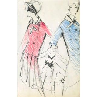 Original Balmain Dress Suit Fashion Sketch 1960