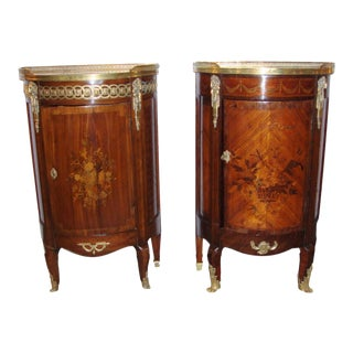Compatible French Inlay Side Tables - A Pair