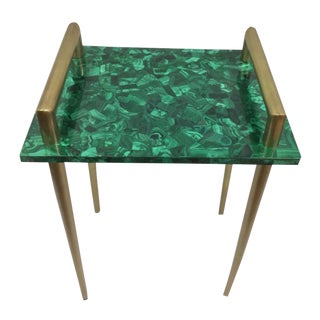 Malachite & Metal Handle Bar Table