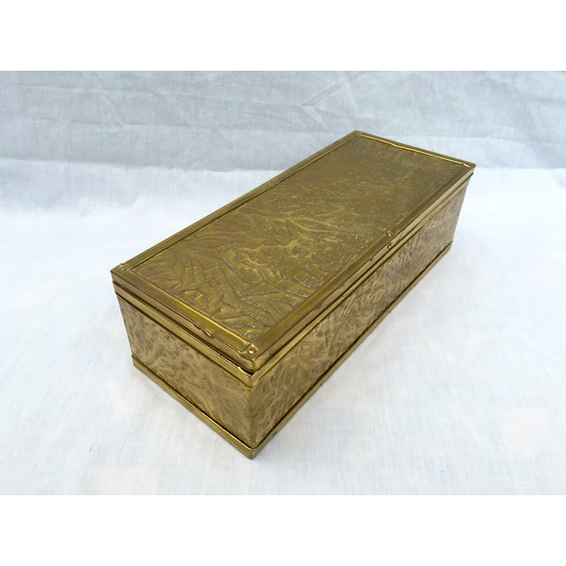 Image of Vintage Embossed Brass Box