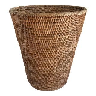 Boho Wood Woven Wastebasket