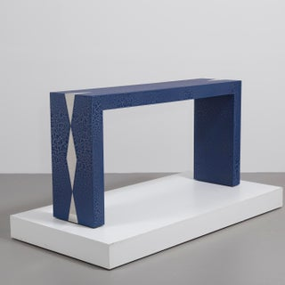 The Crackle Console Table by Talisman Bespoke (Navy and Silver)