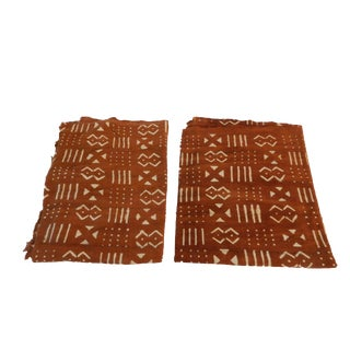 Chocolate & Ivory Mud Cloth Fabric - A Pair