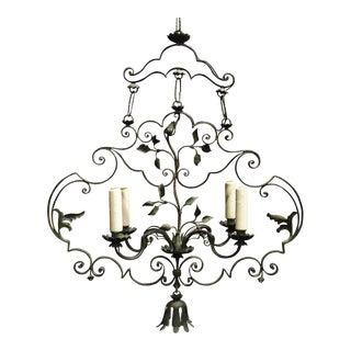 Antique chandelier, verdigris iron