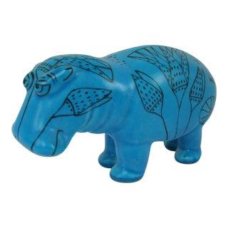 Blue Hieroglyphic Motif Hippo Figurine