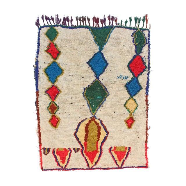 "Vintage Azilal Moroccan Rug - 3'8"" x 4'7"" - Image 1 of 2"
