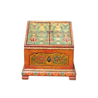 Orange & Blue Tibetan Handmade Prayer Chest
