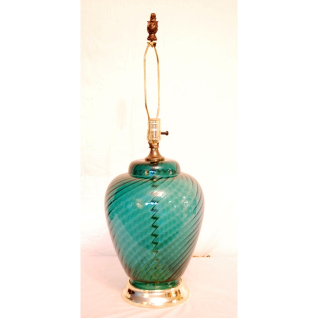 Vintage Green Glass Table Lamp - Image 4 of 4