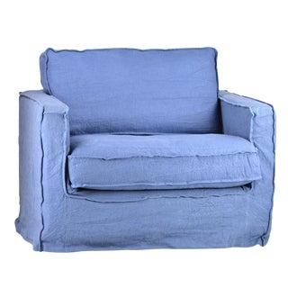 Blue Slip Cover Arm Chair