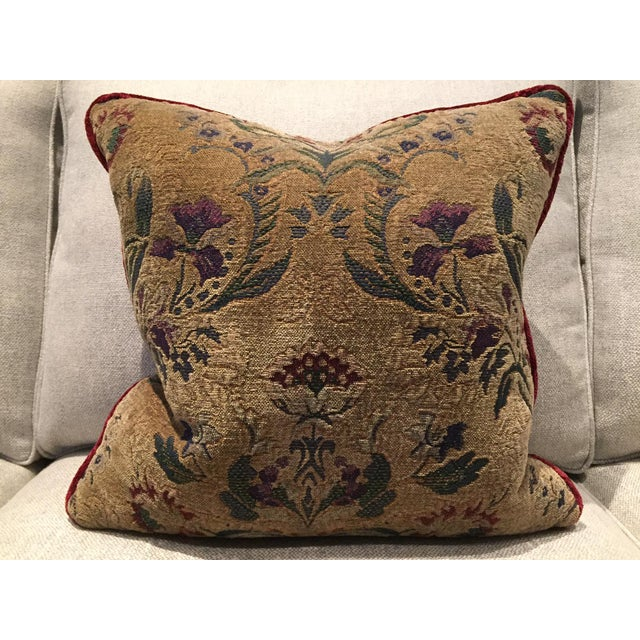 Burgundy Tapestry Goose Filled Pillows - A Pair - Image 3 of 4