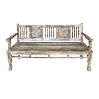 Reconstructed Carved Teak Bench