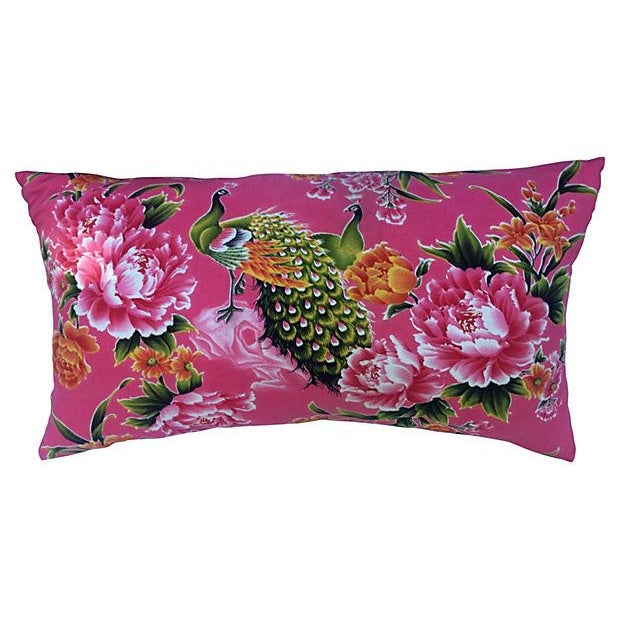 1940s Peony & Peacock Pillow - Image 1 of 4