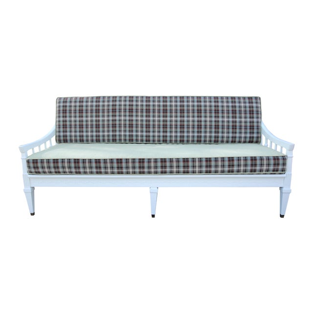 Mid-Century Traditional Plaid Sofa - Image 1 of 5