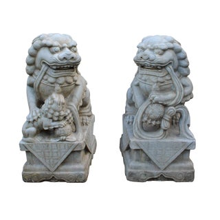Chinese Stone Foo Dogs Statues- A Pair