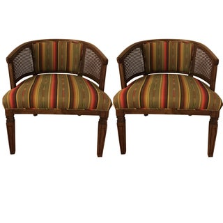 Vintage Caned Back Barrel Chairs - A Pair