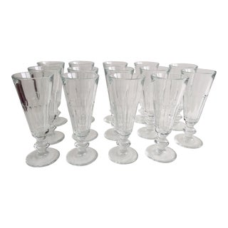 French Pressed Glass Champagne Flutes - Set of 14