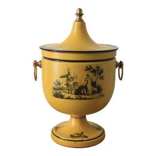 1930s Italian Yellow Toleware Chestnut Urn