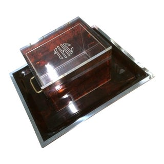 Tortoise Shell Lucite Covered Box & Tray
