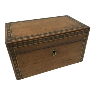 Antique Tunbridge Inlaid Woodwork Tea Caddy