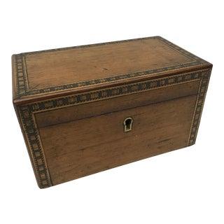 Antique Tunbridge Inlaid Woodwork Tea Caddy