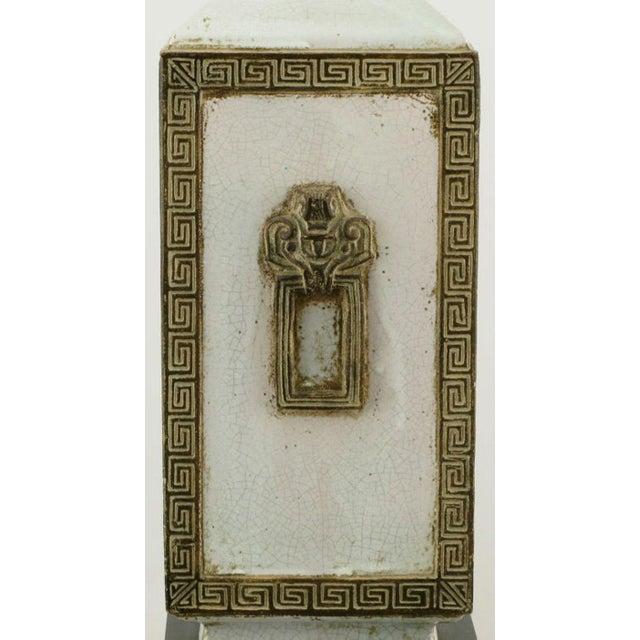 Neoclassical Crackle Glaze & Parcel Gilt Greek Key Table Lamp - Image 5 of 7