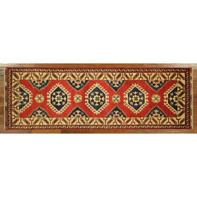 Geometric Super Kazak Scarlet Red Runner 3' x 8' - Image 2 of 8