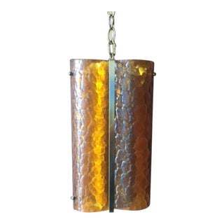 Mid Century Amber Glass Brass Hanging Swag Lamp