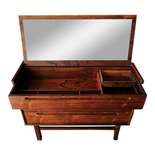 Mid Century Danish Rosewood Vanity Flip Up Mirror Dresser