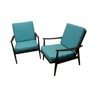 Mid Century Danish Modern Walnut Lounge Chairs - 2
