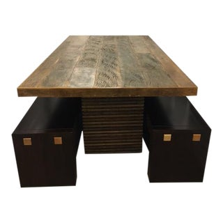 Reclaimed Peroba and Mahogany Wood Dining Table and Benches