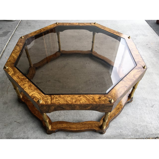 Vintage Wood & Beveled Glass Octagon Coffee Table - Image 2 of 4