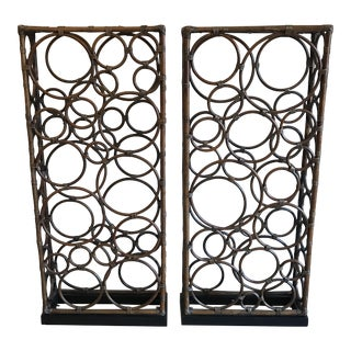 Modern Bamboo Room Divider Screens - A Pair