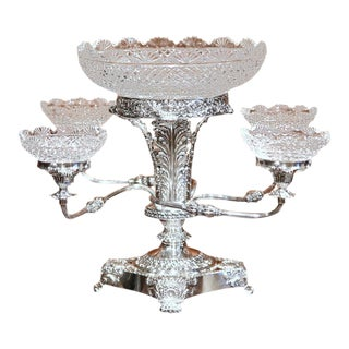 19th Century English Silver Plated & Cut-Glass Epergne Centrepiece