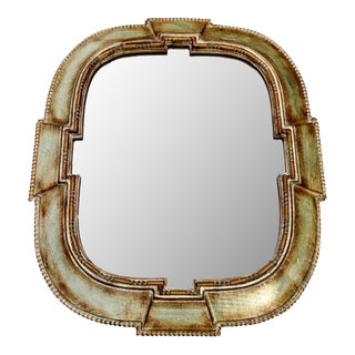 Vintage Italian Carved Wood Silver over Gold Mirror