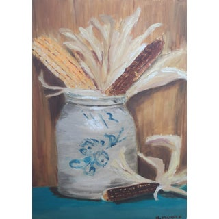 Vintage Still Life Painting on Board